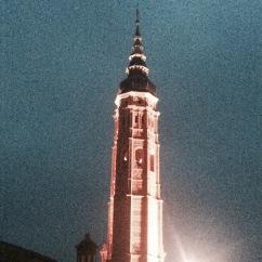 Colegiata de Santa María la Mayor. Main tower from the distance.