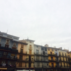 "Beautiful houses ""de balcón corrido"" (straight-line balcony) at Catalayud's main square"